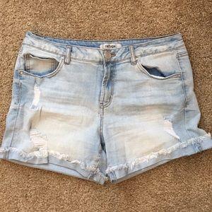 Distressed Denim Shorts - Light Wash